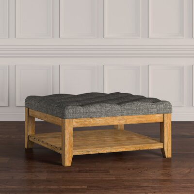Back East Tufted Ottoman Upholstery: Gray, Base Finish: Natural