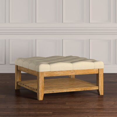 Back East Tufted Ottoman Upholstery: Beige, Base Finish: Natural