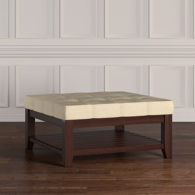Back East Tufted Trendy Ottoman Upholstery: Beige, Base Finish: Espresso