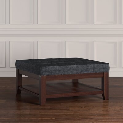 Back East Tufted Trendy Ottoman Color: Dark Gray, Base Finish: Espresso