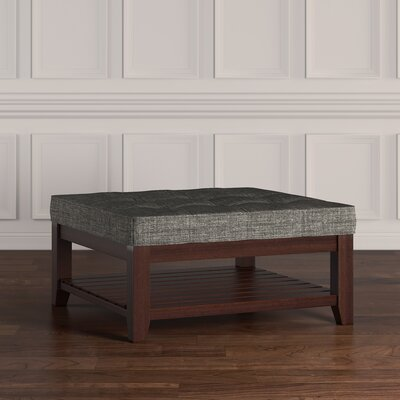 Back East Tufted Trendy Ottoman Upholstery: Gray, Base Finish: Espresso