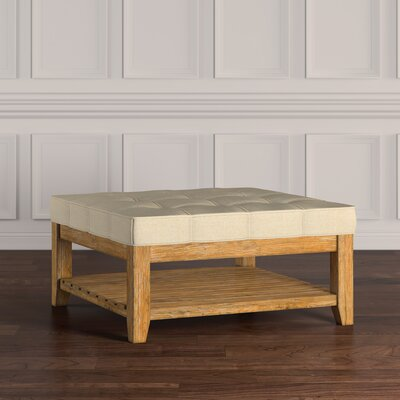 Back East Tufted Trendy Ottoman Upholstery: Beige, Base Finish: Natural