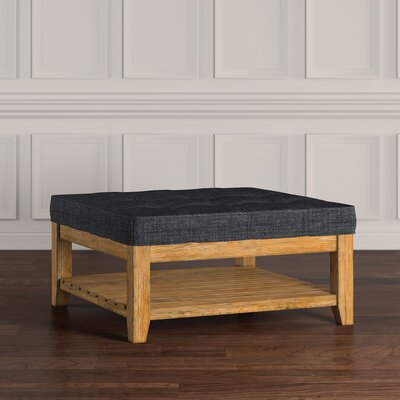 Back East Tufted Trendy Ottoman Upholstery: Dark Gray, Base Finish: Natural