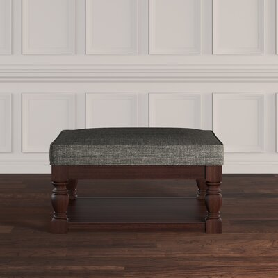 Back East Cross Cushion Ottoman Upholstery: Gray, Base Finish: Espresso