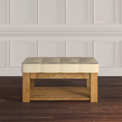 Back East Tufted Trendy Ottoman Color: Beige, Base Finish: Natural