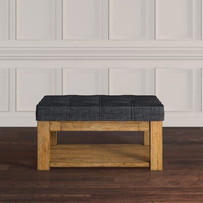 Back East Cocktail Ottoman Color: Dark Gray, Base Finish: Natural