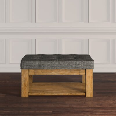 Back East Tufted Trendy Ottoman Color: Gray, Base Finish: Natural