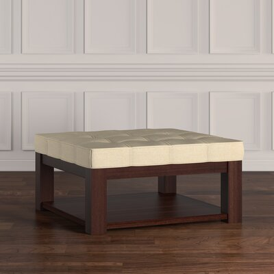 Back East Tufted Trendy Ottoman Color: Beige, Base Finish: Espresso
