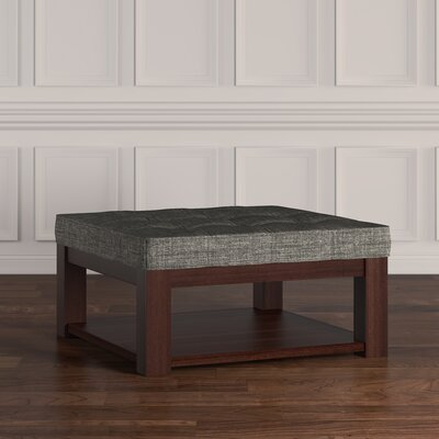 Back East Tufted Trendy Ottoman Color: Gray, Base Finish: Espresso