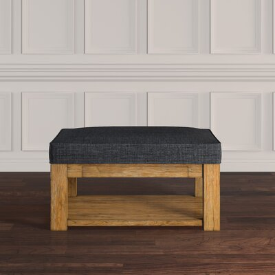 Back East Cross Cushion Ottoman Upholstery: Dark Gray, Base Finish: Natural