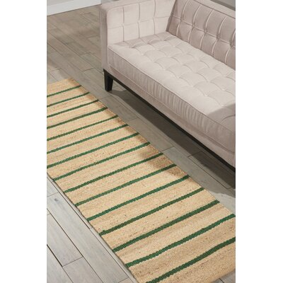 Laflin Hand-Woven Green/Wheat Area Rug Rug Size: Runner 23 x 76