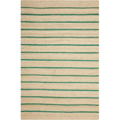 Laflin Hand-Woven Green/Wheat Area Rug Rug Size: Rectangle 4 x 6