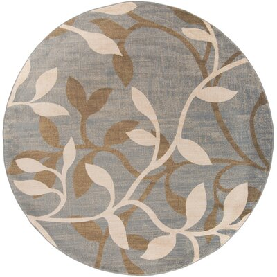 Karbach Tea Leaves Gray/Dark Brown Area Rug Rug Size: Round 8