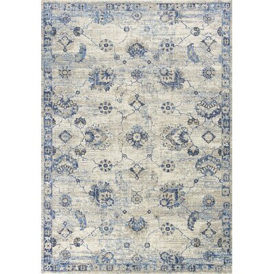 Diane Gray/Blue Area Rug Rug Size: Rectangle 53 x 77