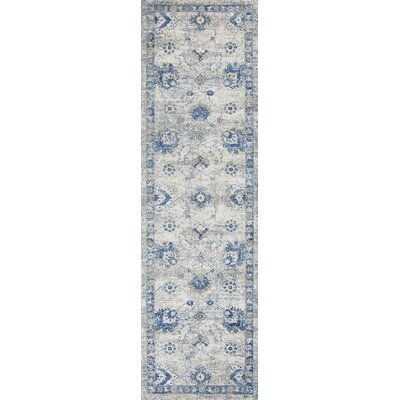 Diane Gray/Blue Area Rug Rug Size: Runner 23 x 76