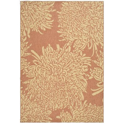 Chrysanthemum Power Loomed Polypropylene Beige/Terracotta Outdoor Area Rug Rug Size: Rectangle 4 x 57