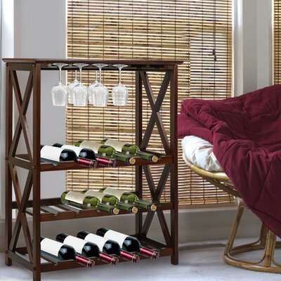 Northumberland X Style 18 Bottle Floor Wine Rack Finish: Walnut