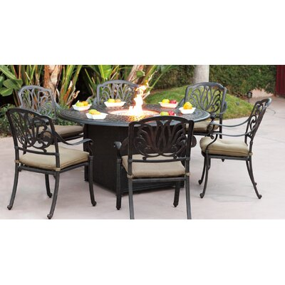 Lebanon 7 Piece Dining Set with Cushions and Firepit