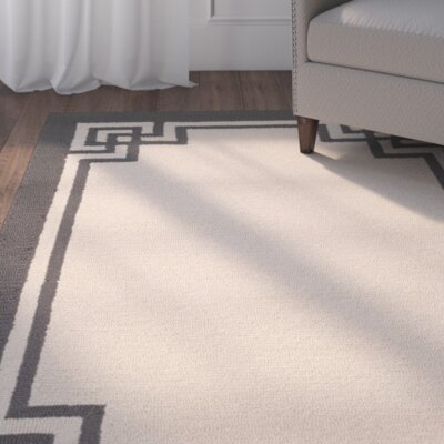 Weymouth Hand-Hooked Ivory/Charcoal Indoor/Outdoor Area Rug Rug Size: Runner 23 x 8