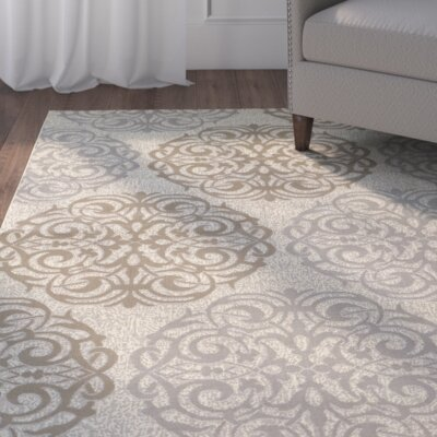 Janie Cream/Sky Blue Indoor/Outdoor Area Rug Rug Size: 311 x 56