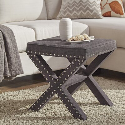 Bavaria X-Base Nailhead Ottoman Upholstery: Dark Gray