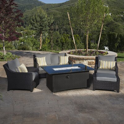 Northridge 5 Piece Fire Pit Set with Cushion Fabric: Charcoal Gray
