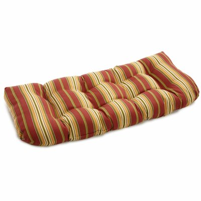 Chapin Stripe Outdoor Bench Cushion Fabric: Kingsley Stripe Ruby