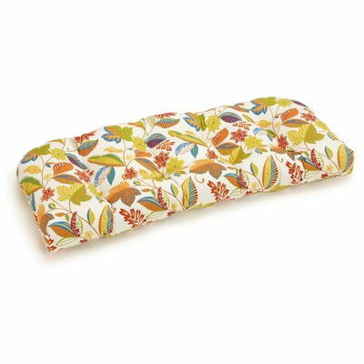 Floral U-Shape Outdoor Bench Cushion Fabric: Skyworks