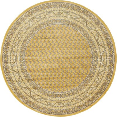 Gillam Yellow Area Rug Rug Size: Round 5' x 5'