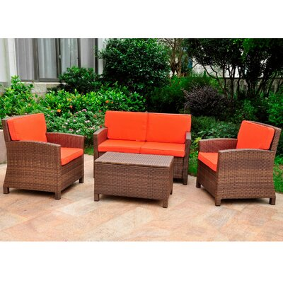 Binney Wicker Resin 4 Piece Deep Seating Group with Cushion Finish: Antique Brown, Fabric: Tangerine Dream