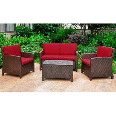 Binney Wicker Resin 4 Piece Deep Seating Group with Cushion Finish: Chocolate, Fabric: Merlot