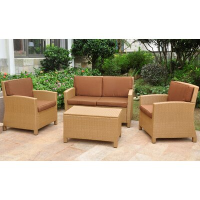 Binney Wicker Resin 4 Piece Deep Seating Group with Cushion Finish: Honey, Fabric: Dark Chocolate