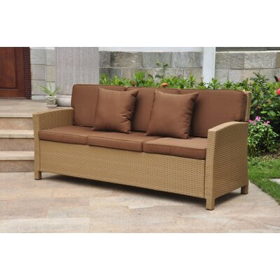 Binney Wicker Resin Sofa with Cushions Finish: Honey, Fabric: Dark Chocolate