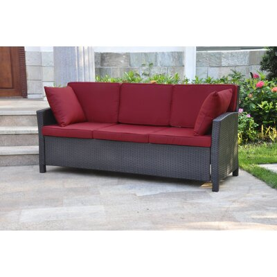 Binney Wicker Resin Sofa with Cushions Finish: Chocolate, Fabric: Merlot