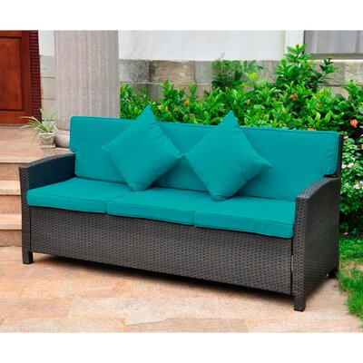 Binney Wicker Resin Sofa with Cushions Finish: Antique Black, Fabric: Aqua Blue