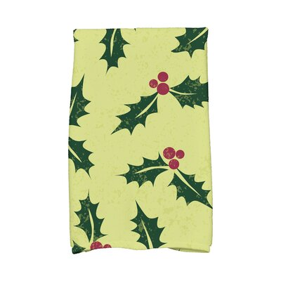 Briese Allover Holly Hand Towel Color: Green