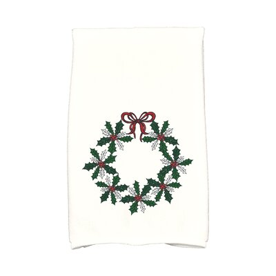 Sheatown Traditional Holly Wreath Hand Towel Color: Green/White/Red