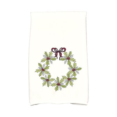 Traditional Holly Wreath Hand Towel Color: Light Green/White/Red