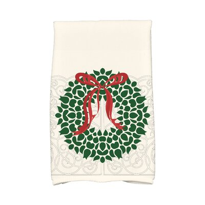 Sheatown Gate Wreath Hand Towel Color: White/Green/Red