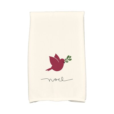 Coastal Christmas Noel Bird Hand Towel Color: Cranberry