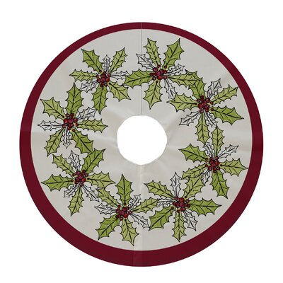 Holiday Wishes Holly Wreath Decorative Holiday Tree Skirt Color: Cranberry