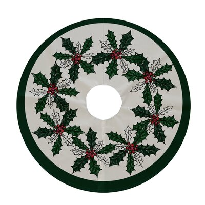 Holiday Wishes Holly Wreath Decorative Holiday Tree Skirt