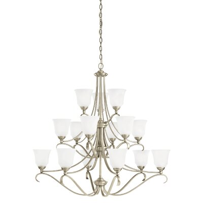 Ameswood 15-Light Shaded Chandelier Finish: Antique Brushed Nickel, Shade Color: Satin Etched