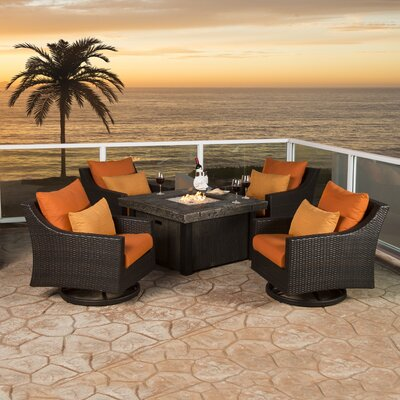 Northridge 5 Piece Deep Seating Group with Cushion Fabric: Tikka Orange