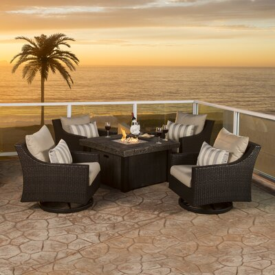 Northridge 5 Piece Deep Seating Group with Cushion Fabric: Slate