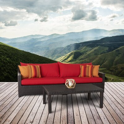 Northridge 2 Piece Deep Seating Group with Cushion Fabric: Sunset Red