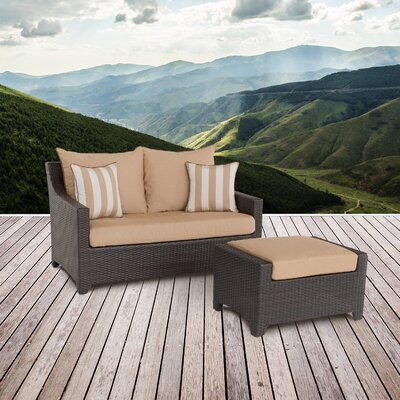 Northridge Loveseat and Ottoman with Cushions Fabric: Maxim Beige