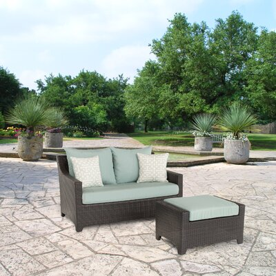 Northridge Loveseat and Ottoman with Cushions Fabric: Spa Blue