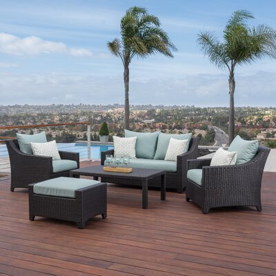Northridge 5 Piece Deep Seating Group with Cushion Fabric: Spa Blue