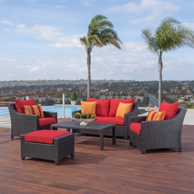 Northridge 5 Piece Deep Seating Group with Cushion Fabric: Sunset Red